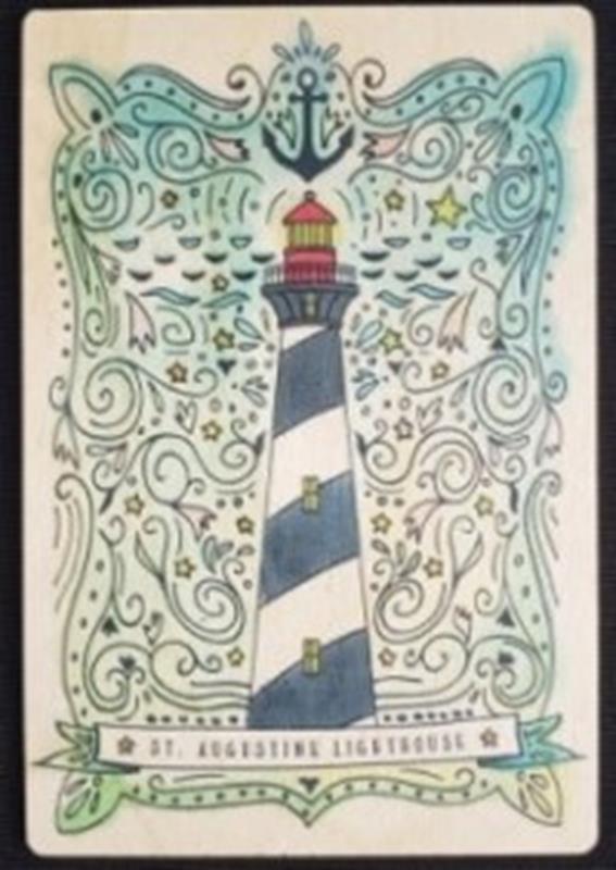 Nautical Watercolor Wood Postcard